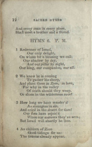a page from the original 1835 edition of the LDS hymnbook